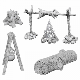 WZK73860 Camp Fire Sitting Log Miniature Deep Cuts Unpainted Miniatures WizKids