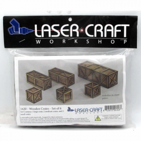 LCW1620 Wooden Assorted Crates Set Of 6 28mm Scale Miniature Terrain