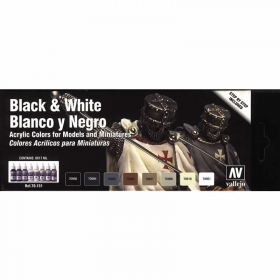 VAL70151 Black And White Colors Paint Set Vallejo