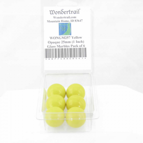WONGM257 Yellow Opaque 25mm (1 Inch) Glass Marbles Pack of 6