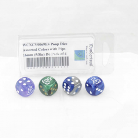 WCXCV0069E4 Poop Dice Assorted Colors with Pips 16mm (5/8in) D6 Pack of 4