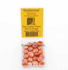 WON0054 Electric Orange Gaming Counter Tokens Aprox 14mm Pack of 22