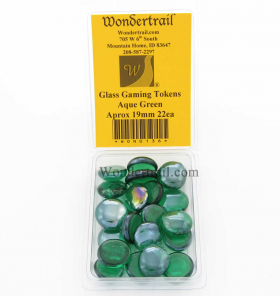 WON0136 Aqua Green Gaming Counter Tokens Aprox 19mm Pack of 22
