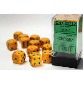CHX25712 Lotus Speckled D6 Dice With Green Pips 16mm Pack of 12